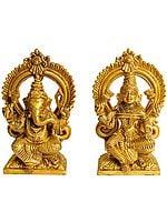 Pair of Throne Ganesha and Lakshmi