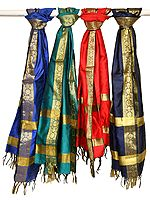 Lot of Four Banarasi Dupattas with Brocade Weave