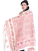 Hindu Prayer Shawl with Printed Sri Ram Jai Ram Jai Jai Ram Mantra