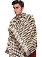 White and Brown Cashmere Men's Scarf from Nepal with Woven Checks
