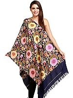 Twilight-Blue Kashmiri Stole with Embroidered Giant Flowers by Hand