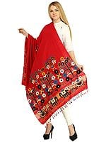 Cardinal-Red Shawl from Kutch with Embroidered Flowers and Mirrors