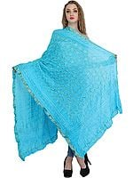 Bandhani Tie-Dye Gharchola Dupatta from Jodhpur with Golden Thread Weave