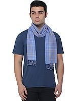 Cashmere Men's Scarf from Nepal with Checks Weave