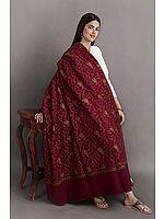 Kashmiri Tusha Shawl with Sozni Embroidered Floral Vines in Multicolor Thread
