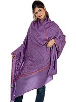 Amethyst Kashmiri Shawl with Sozni Embroidery All-Over