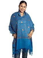 Azure Kashmiri Stole with Sozni Embroidery All-Over