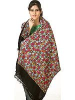 Black Kashmiri Stole with Dense Hand-Embroidery Resembling Papier Machie