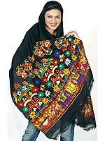 Black Shawl from Kutchh with Ari-Embroidery and Mirrors