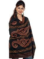 Black Sozni Embroidered Tusha Shawl from Kashmir with Stylized Paisleys