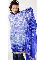 Blue Shaded Bandhani Shawl from Gujrat