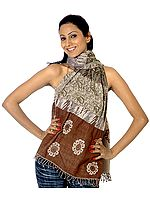 Brown and Green Jamawar Scarf with Paisley Weave