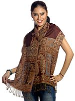 Coffee-Brown Jamawar Scarf