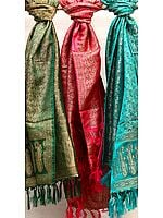 Lot of Three Resham Dohra Banarasi Stoles with Dense Weave