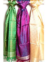 Lot of Three Hand-Woven Banarasi Tanchoi Stoles