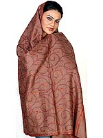 Dark-Khaki Kashmiri Shawl with Needle-Stitch Embroidery