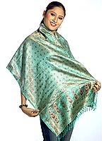 Emerald-Green Resham Tehra Stole with Tanchoi Weave All Over