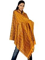 Golden-Mustard Stylized Paisley Banarasi Shawl with All-Over Weave