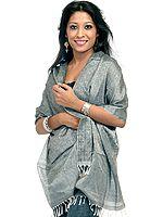 Gray Banarasi Scarf with Tanchoi Weave