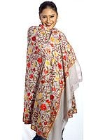 Gray Kashmiri Shawl with Crewel Embroidered Flowers All-Over