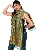 Green Resham Tehra Stole with Tanchoi Weave All Over