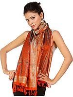 Handwoven Orange Banarasi Stole with Tanchoi Weave