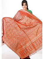 Hand-Woven Orange Resham Tehra Banarasi Shawl