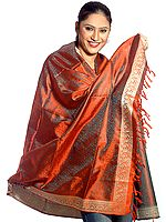 Handwoven Rust Banarasi Shawl with Tanchoi Weave