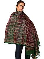 Islamic-Green Stylized Paisley Banarasi Shawl with All-Over Weave