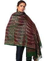 Islamic-Green Stylized Paisley Banarasi Shawl with All-Over Weave