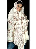 Ivory Kashmiri Shawl with Needle-Stitch Embroidery