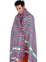Men's Shawl from Kutch with Tri-Color Thread Weave
