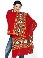 Maroon Shawl from Kutchh with Ari-Embroidered Elephants
