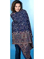 Midnight-Blue Shawl with Kani Border and Jaal Embroidery