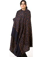 Midnight-Blue Tusha Shawl with All-Over Jafreen Jaal Embroidery