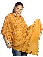 Mustard Kashmiri Stole with Sozni Embroidery All-Over