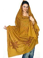 Mustard Pure Pashmina Shawl with All-Over Kashmiri Embroidery by Hand