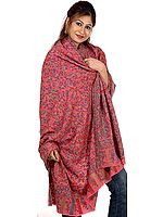 Pink Kani Shawl with Multi-Color Woven Paisleys All-Over