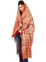 Red Resham Tehra Banarasi Shawl Hand-Woven with All-Over Paisleys