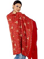 Red Semi-Pashmina Kashmiri Shawl with Intricately Embroidered Chinar Leaves by Hand