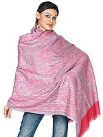 Rose Reversible Jamawar Shawl with All-Over Weave
