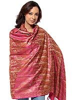 Magenta Stylized Paisley Banarasi Shawl with All-Over Weave