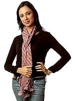 Chestnut Bandhani Tie-Dye Scarf from Gujarat