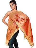 Beige and Red Banarasi Stole with Tanchoi Weave All Over