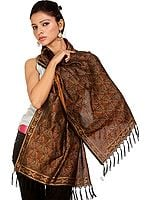 Black Resham Tehra Stole from Banaras with Woven Paisleys
