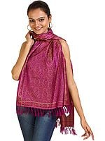 Hollyhock-Purple Banarasi Tehra Stole with All-Over Woven Paisleys