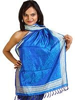 Dazzling-Blue Banarasi Stole with All-Over Tanchoi Weave and Paisley Border