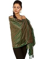 Islamic-Green Tehra Banarasi Stole with All-Over Hand-Woven Paisleys