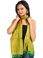 Vibrant-Green and Orange Tanchoi Stole from Banaras