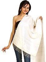 Ivory Ektara Banarasi Stole with Brocade Weave